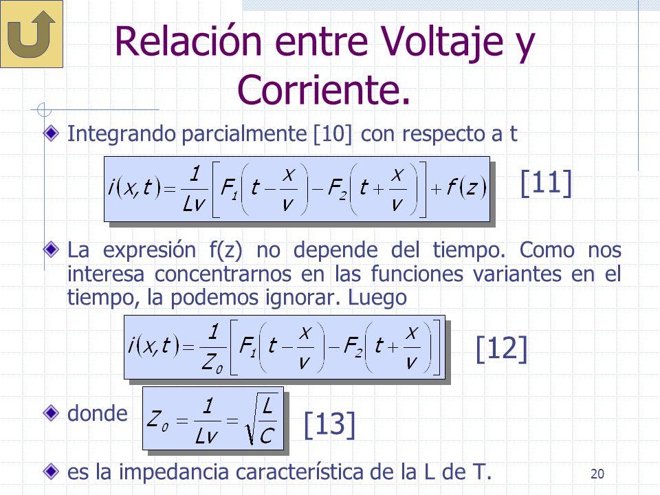 20 Relación entre Voltaje y Corriente. Integrando parcialmente [10] con respecto a t La expresión f(z) no depende del tiempo. Como nos interesa concen
