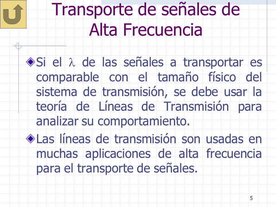 5 Transporte de señales de Alta Frecuencia Si el de las señales a transportar es comparable con el tamaño físico del sistema de transmisión, se debe u