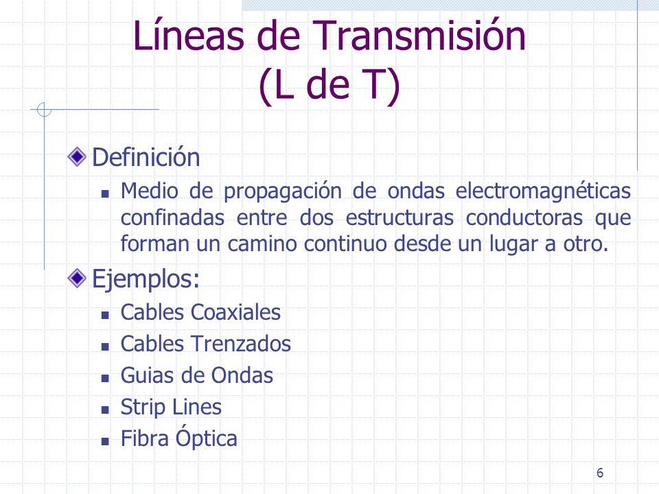 6 Líneas de Transmisión (L de T) Definición Medio de propagación de ondas electromagnéticas confinadas entre dos estructuras conductoras que forman un