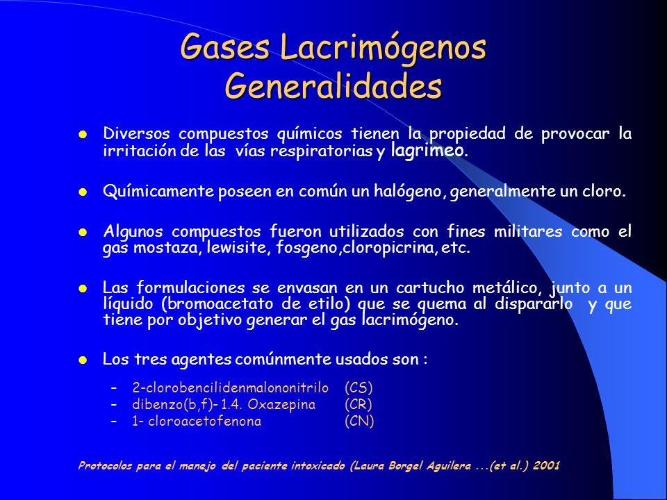Gases Lacrimógenos Generalidades Otros agentes lacrimógenos utilizados son: ACETOFENONA ALFA-CLOROACETOFENONA BROMOACETOFENONA CLOROPICRINA (TRICLORONITROMETANO) Protocolos para el manejo del paciente intoxicado (Laura Borgel Aguilera...(et al.) 2001