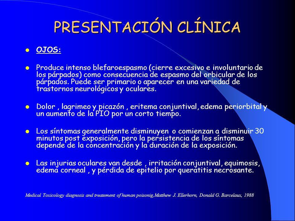 PRESENTACIÓN CLÍNICA OJOS: Produce intenso blefaroespasmo (cierre excesivo e involuntario de los párpados) como consecuencia de espasmo del orbicular