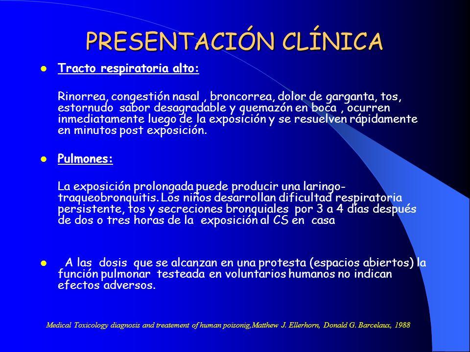 PRESENTACIÓN CLÍNICA Tracto respiratoria alto: Rinorrea, congestión nasal, broncorrea, dolor de garganta, tos, estornudo sabor desagradable y quemazón