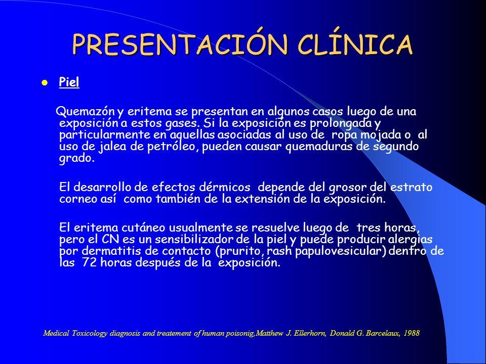 PRESENTACIÓN CLÍNICA Piel Quemazón y eritema se presentan en algunos casos luego de una exposición a estos gases. Si la exposición es prolongada y par