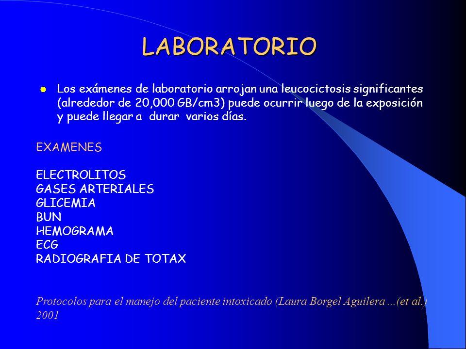 LABORATORIO Los exámenes de laboratorio arrojan una leucocictosis significantes (alrededor de 20,000 GB/cm3) puede ocurrir luego de la exposición y pu