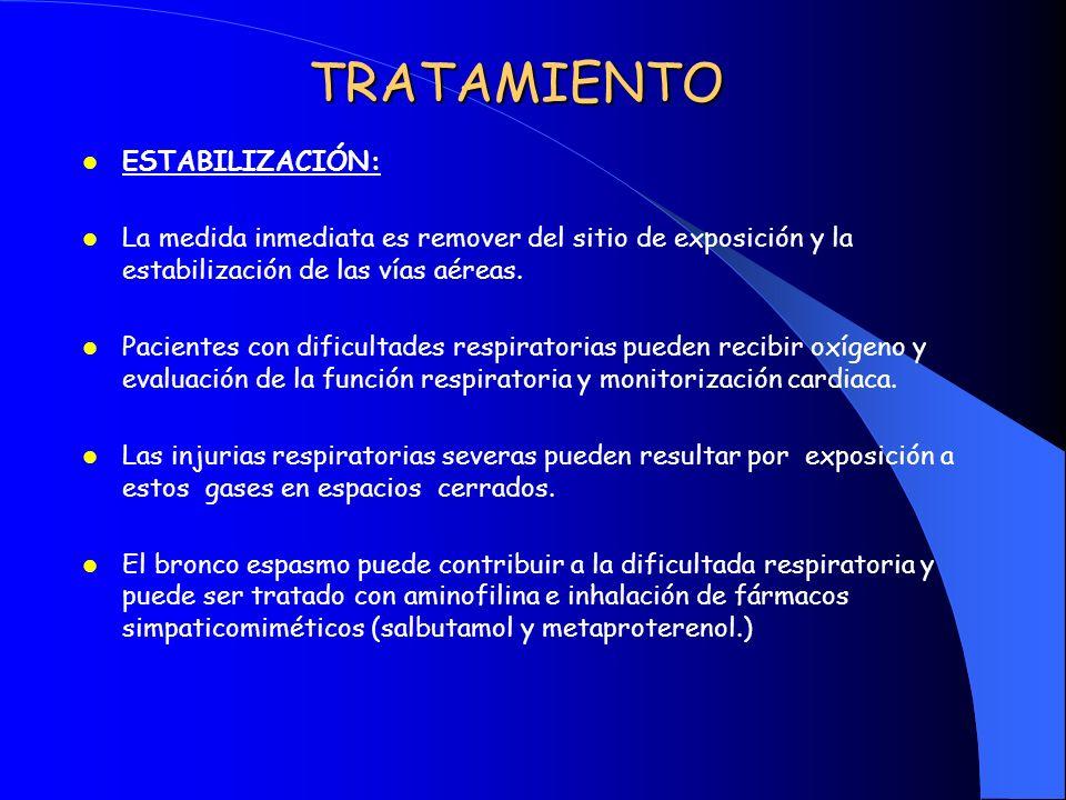 TRATAMIENTO ESTABILIZACIÓN: La medida inmediata es remover del sitio de exposición y la estabilización de las vías aéreas. Pacientes con dificultades