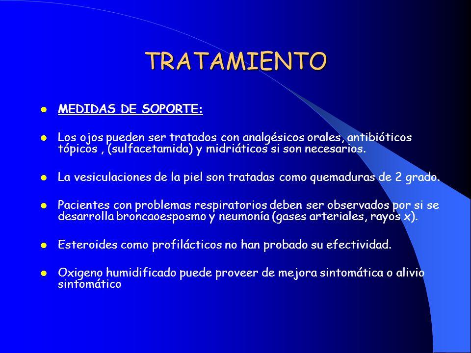 TRATAMIENTO MEDIDAS DE SOPORTE: Los ojos pueden ser tratados con analgésicos orales, antibióticos tópicos, (sulfacetamida) y midriáticos si son necesa