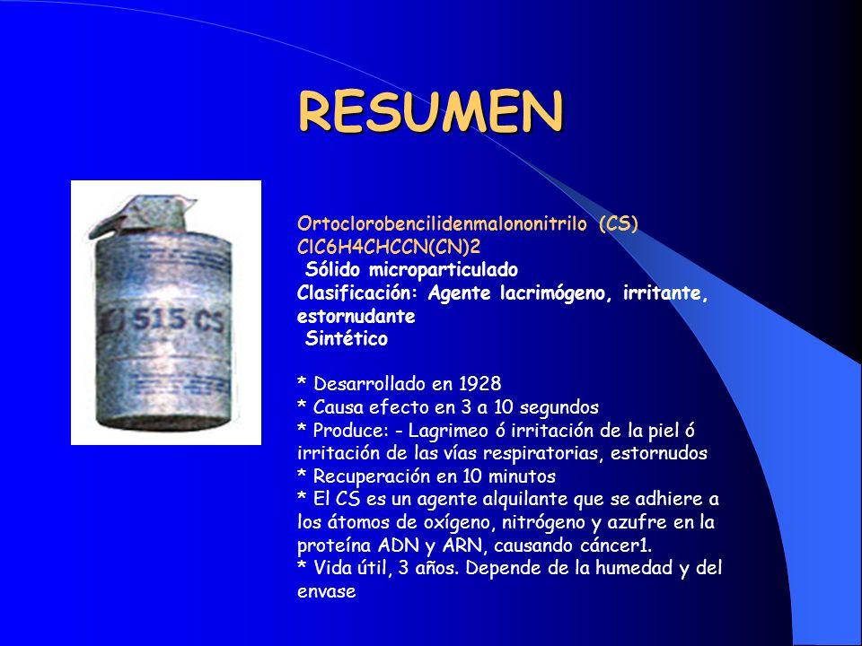 RESUMEN Ortoclorobencilidenmalononitrilo (CS) ClC6H4CHCCN(CN)2 Sólido microparticulado Clasificación: Agente lacrimógeno, irritante, estornudante Sint