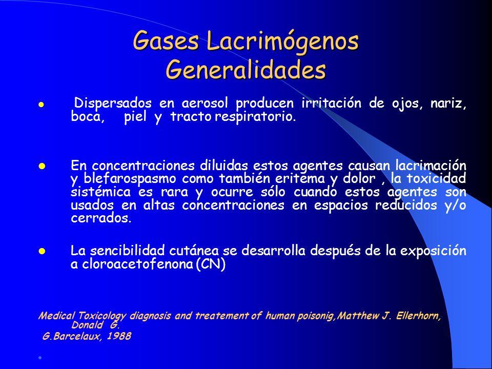 Gases Lacrimógenos Generalidades Dispersados en aerosol producen irritación de ojos, nariz, boca, piel y tracto respiratorio. En concentraciones dilui