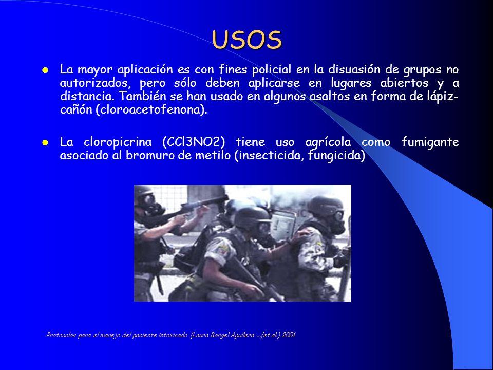 USOS La mayor aplicación es con fines policial en la disuasión de grupos no autorizados, pero sólo deben aplicarse en lugares abiertos y a distancia.