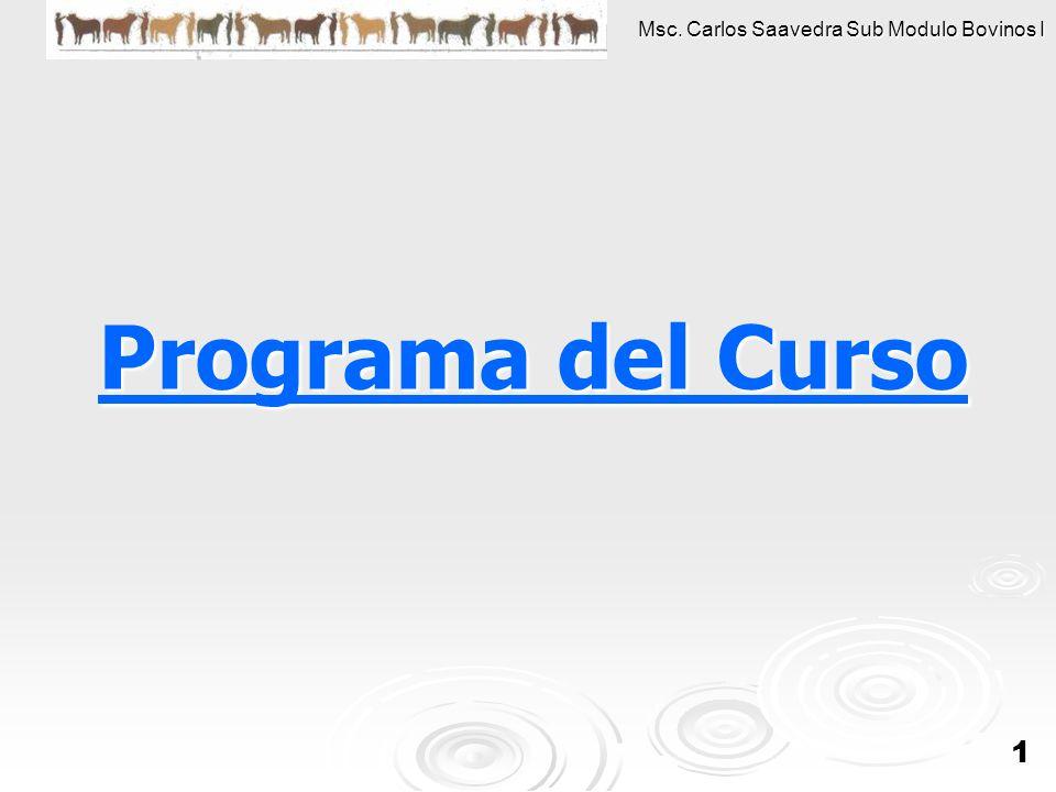 Msc. Carlos Saavedra Sub Modulo Bovinos I 1 Programa del Curso Programa del Curso