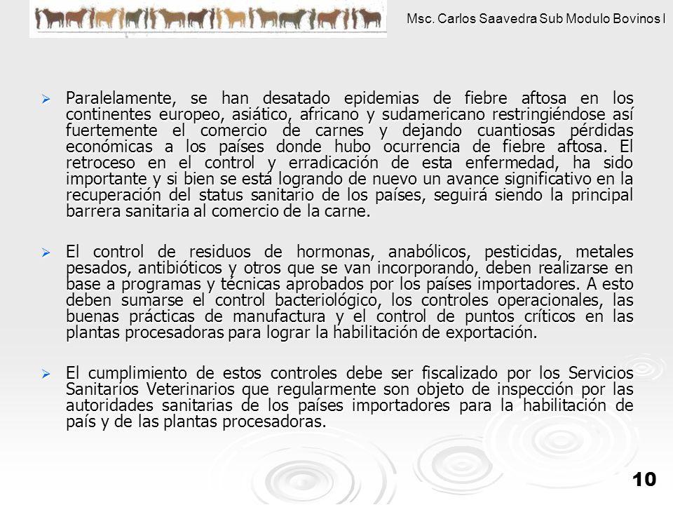 Msc. Carlos Saavedra Sub Modulo Bovinos I 10 Paralelamente, se han desatado epidemias de fiebre aftosa en los continentes europeo, asiático, africano