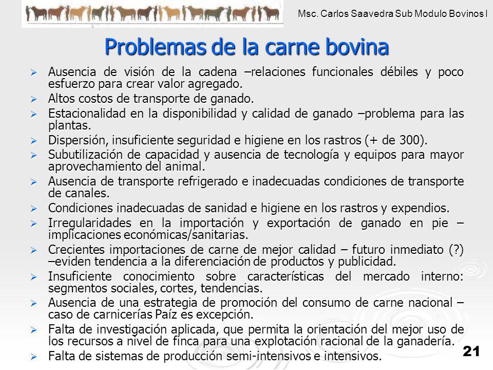 Msc. Carlos Saavedra Sub Modulo Bovinos I 21 Problemas de la carne bovina Ausencia de visión de la cadena –relaciones funcionales débiles y poco esfue
