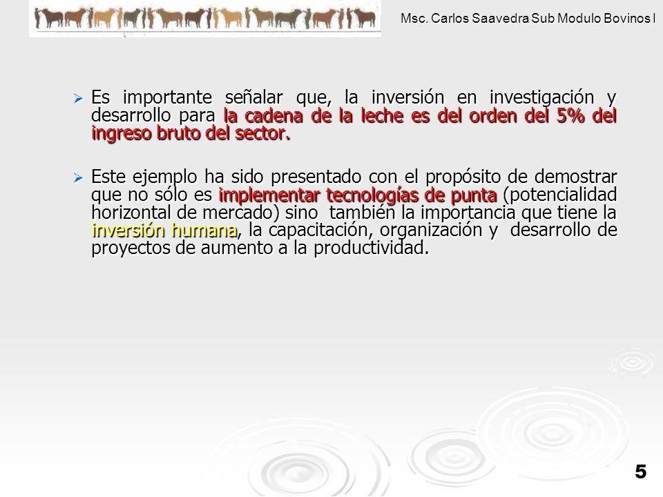 Msc. Carlos Saavedra Sub Modulo Bovinos I 5 Es importante señalar que, la inversión en investigación y desarrollo para la cadena de la leche es del or
