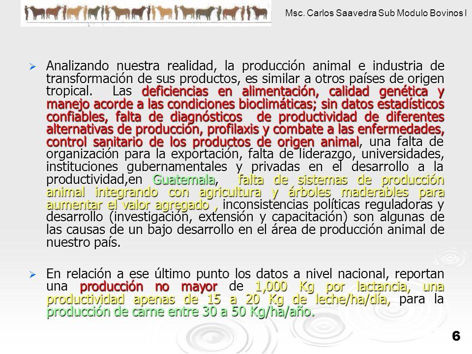 Msc. Carlos Saavedra Sub Modulo Bovinos I 6 Analizando nuestra realidad, la producción animal e industria de transformación de sus productos, es simil
