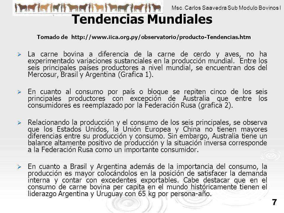 Msc. Carlos Saavedra Sub Modulo Bovinos I 7 Tendencias Mundiales Tomado de http://www.iica.org.py/observatorio/producto-Tendencias.htm La carne bovina