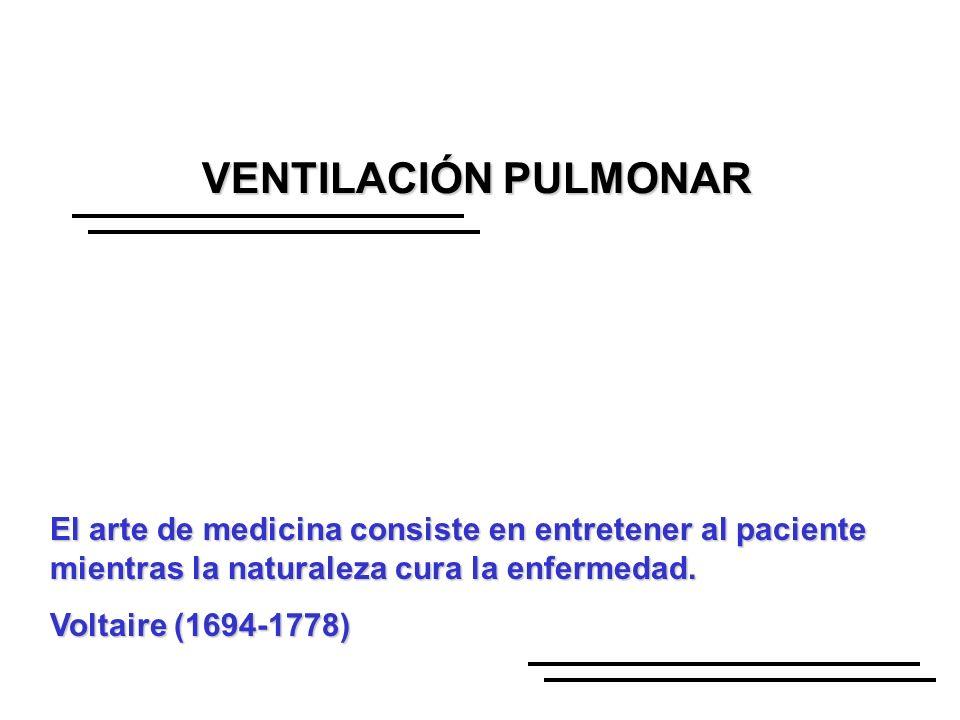 VENTILACIÓN PULMONAR El arte de medicina consiste en entretener al paciente mientras la naturaleza cura la enfermedad. Voltaire (1694-1778)