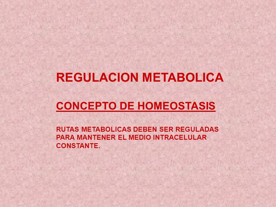 REGULACION METABOLICA CONCEPTO DE HOMEOSTASIS RUTAS METABOLICAS DEBEN SER REGULADAS PARA MANTENER EL MEDIO INTRACELULAR CONSTANTE.