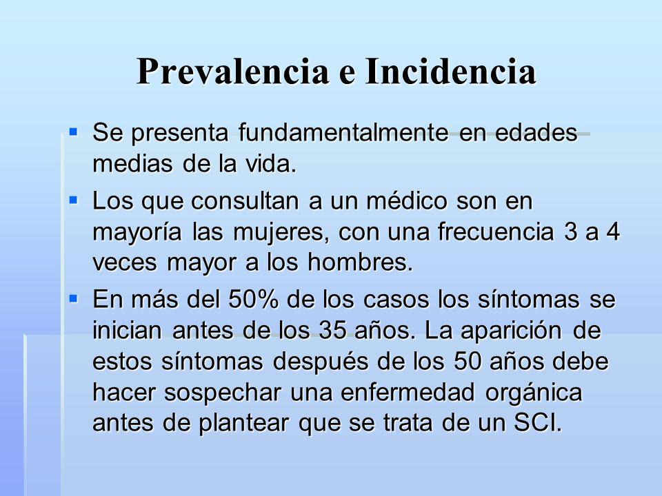 Prevalencia e Incidencia Encuesta nacional de calidad de vida y salud 2003 Encuesta nacional de calidad de vida y salud 2003 11,3% de la población ha recibido el diagnóstico de Colon irritable.