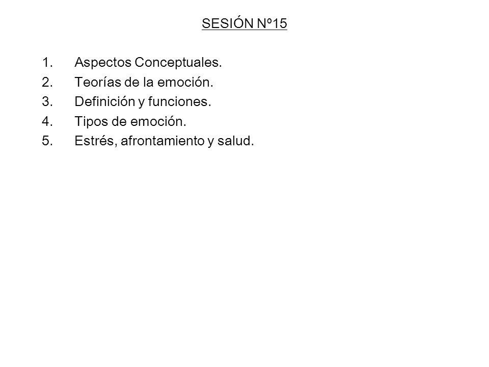 SESIÓN Nº15 1.Aspectos Conceptuales. 2.Teorías de la emoción. 3.Definición y funciones. 4.Tipos de emoción. 5.Estrés, afrontamiento y salud.