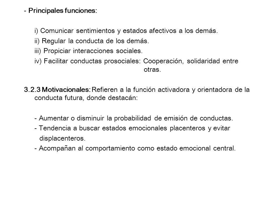 - Principales funciones: i) Comunicar sentimientos y estados afectivos a los demás. ii) Regular la conducta de los demás. iii) Propiciar interacciones