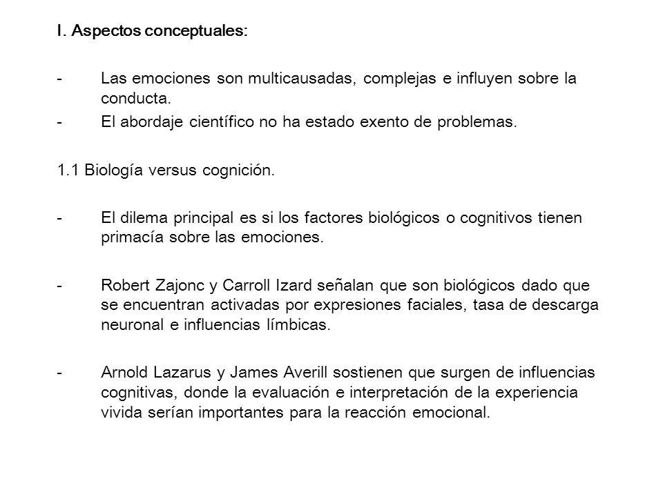 I. Aspectos conceptuales: -Las emociones son multicausadas, complejas e influyen sobre la conducta. -El abordaje científico no ha estado exento de pro