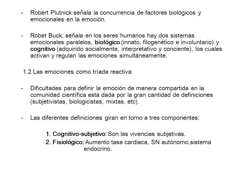 -Robert Plutnick señala la concurrencia de factores biológicos y emocionales en la emoción. -Robet Buck, señala en los seres humanos hay dos sistemas