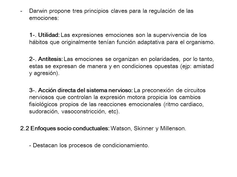 -Darwin propone tres principios claves para la regulación de las emociones: 1-. Utilidad: Las expresiones emociones son la supervivencia de los hábito