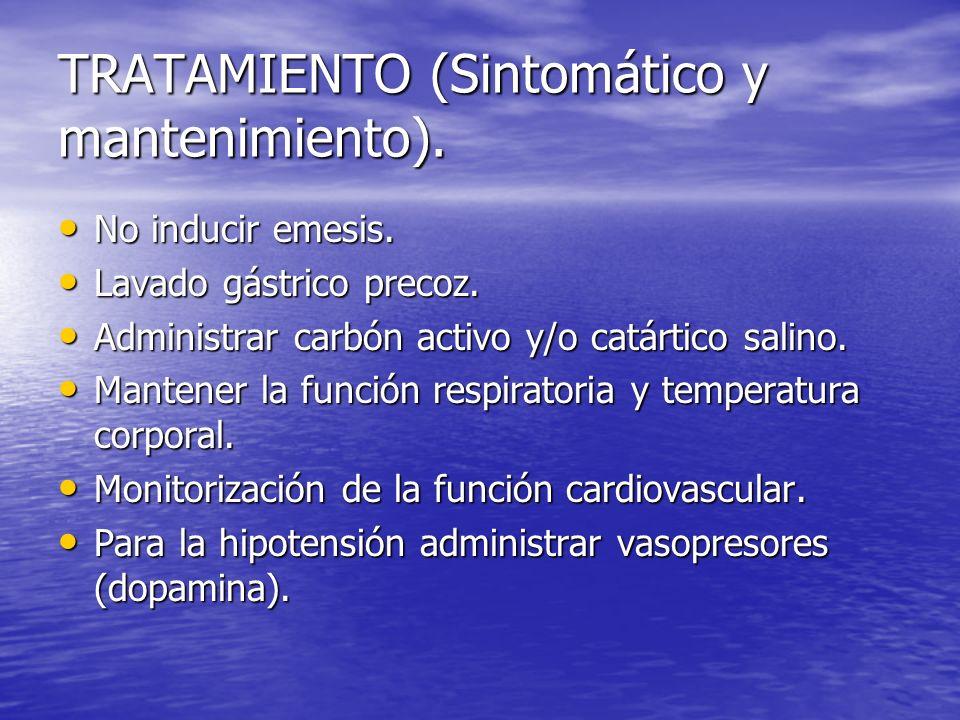 TRATAMIENTO (Sintomático y mantenimiento). No inducir emesis. No inducir emesis. Lavado gástrico precoz. Lavado gástrico precoz. Administrar carbón ac