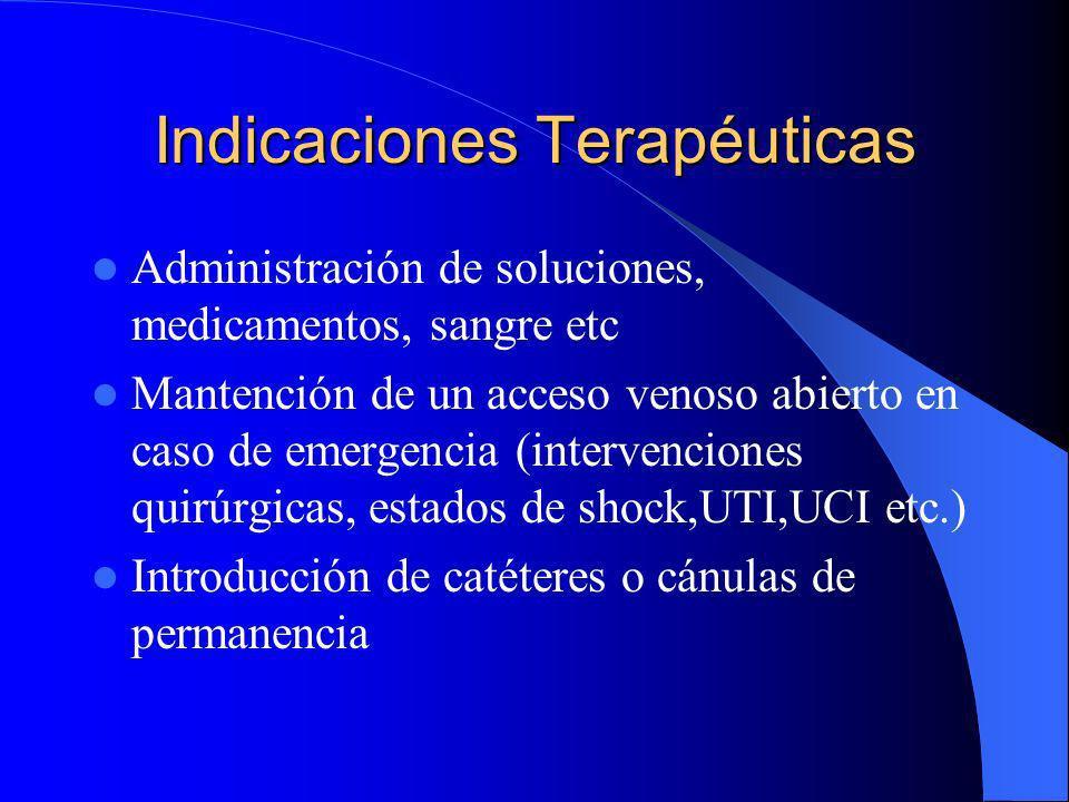 Indicaciones Terapéuticas Administración de soluciones, medicamentos, sangre etc Mantención de un acceso venoso abierto en caso de emergencia (interve