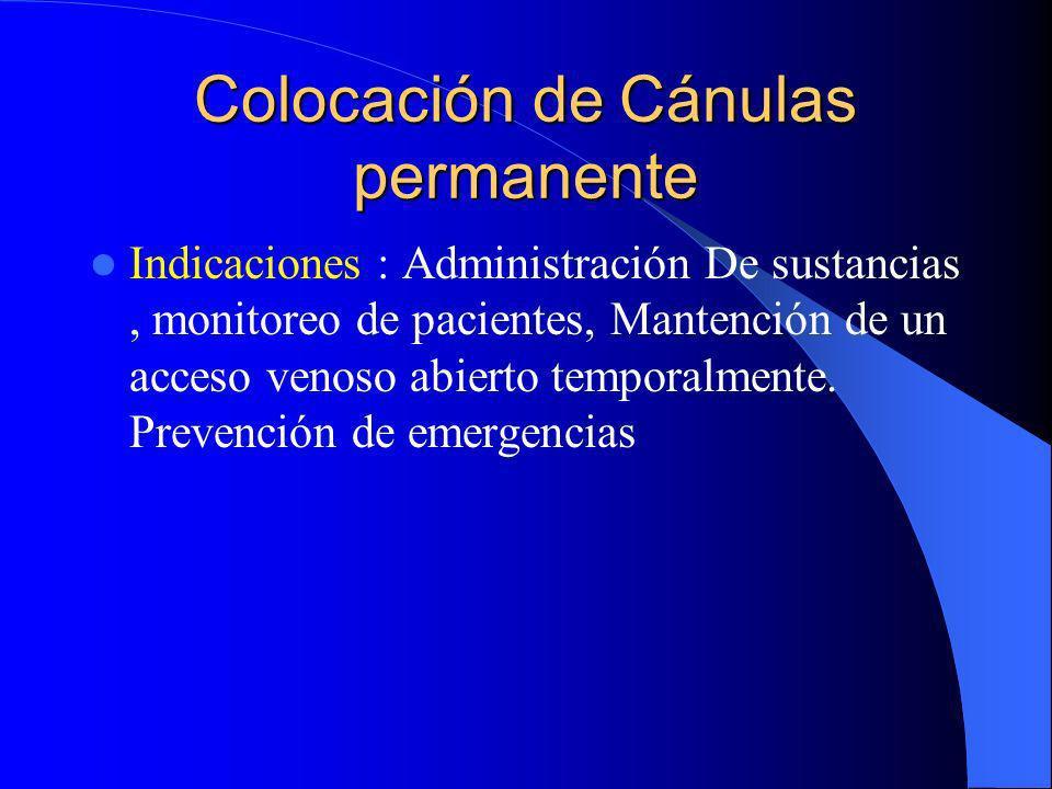 Colocación de Cánulas permanente Indicaciones : Administración De sustancias, monitoreo de pacientes, Mantención de un acceso venoso abierto temporalm