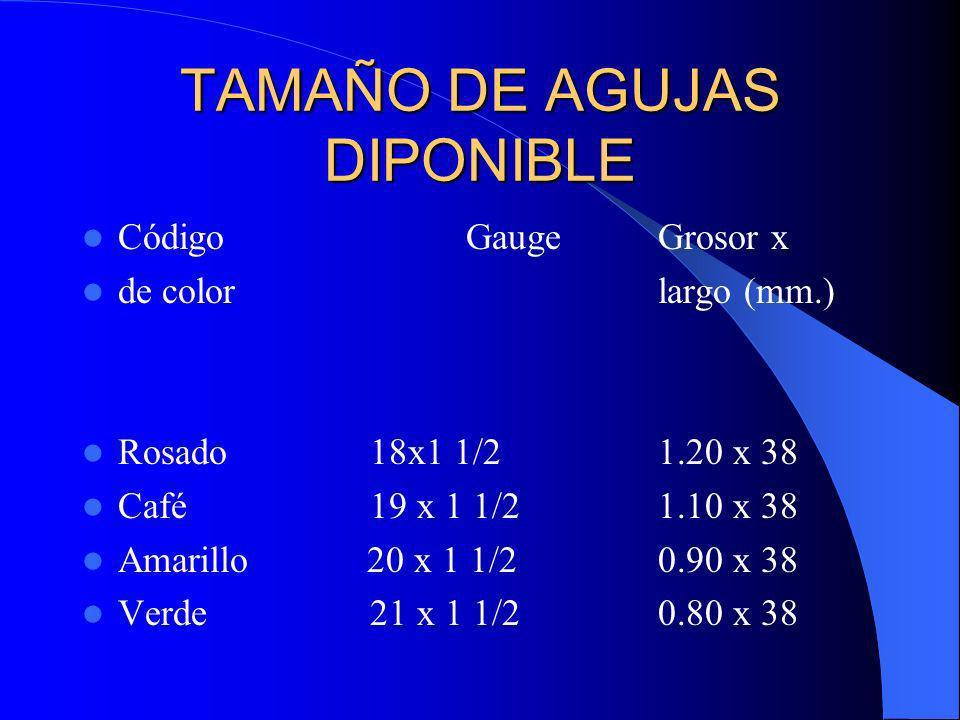 TAMAÑO DE AGUJAS DIPONIBLE CódigoGaugeGrosor x de colorlargo (mm.) Rosado18x1 1/21.20 x 38 Café19 x 1 1/21.10 x 38 Amarillo 20 x 1 1/20.90 x 38 Verde2