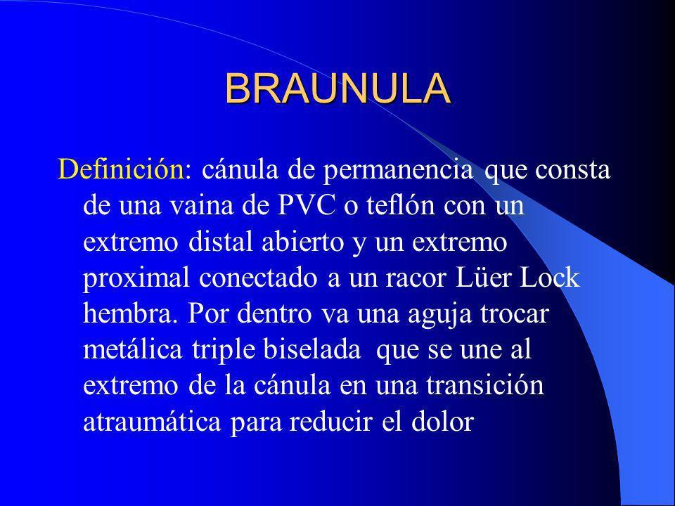 BRAUNULA Definición: cánula de permanencia que consta de una vaina de PVC o teflón con un extremo distal abierto y un extremo proximal conectado a un