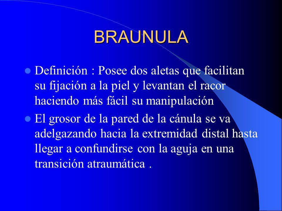 BRAUNULA Definición : Posee dos aletas que facilitan su fijación a la piel y levantan el racor haciendo más fácil su manipulación El grosor de la pare