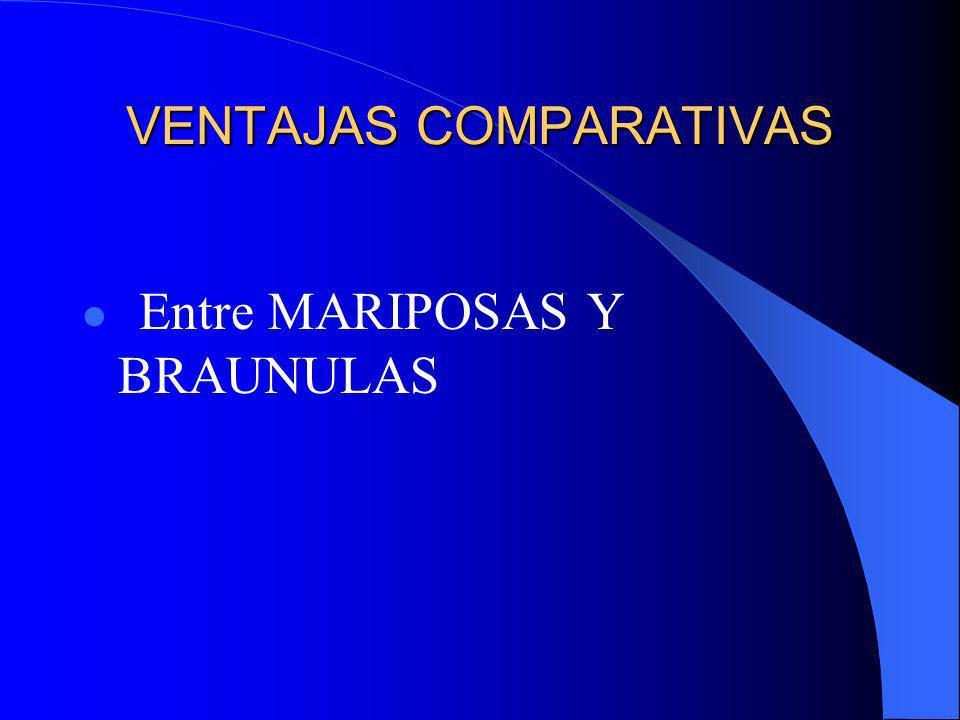 VENTAJAS COMPARATIVAS Entre MARIPOSAS Y BRAUNULAS