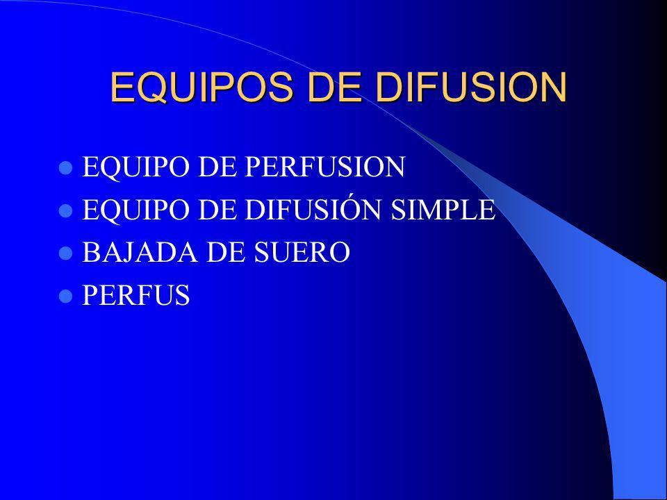 EQUIPOS DE DIFUSION EQUIPOS DE DIFUSION EQUIPO DE PERFUSION EQUIPO DE DIFUSIÓN SIMPLE BAJADA DE SUERO PERFUS