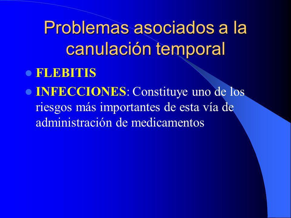 Problemas asociados a la canulación temporal FLEBITIS INFECCIONES: Constituye uno de los riesgos más importantes de esta vía de administración de medi