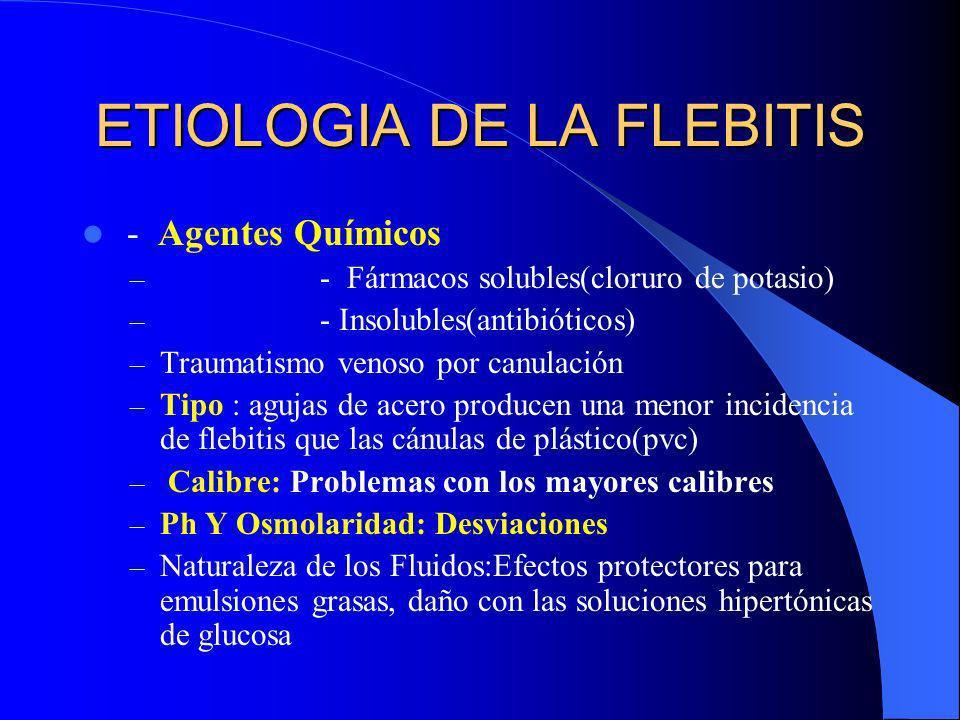 ETIOLOGIA DE LA FLEBITIS - Agentes Químicos – - Fármacos solubles(cloruro de potasio) – - Insolubles(antibióticos) – Traumatismo venoso por canulación