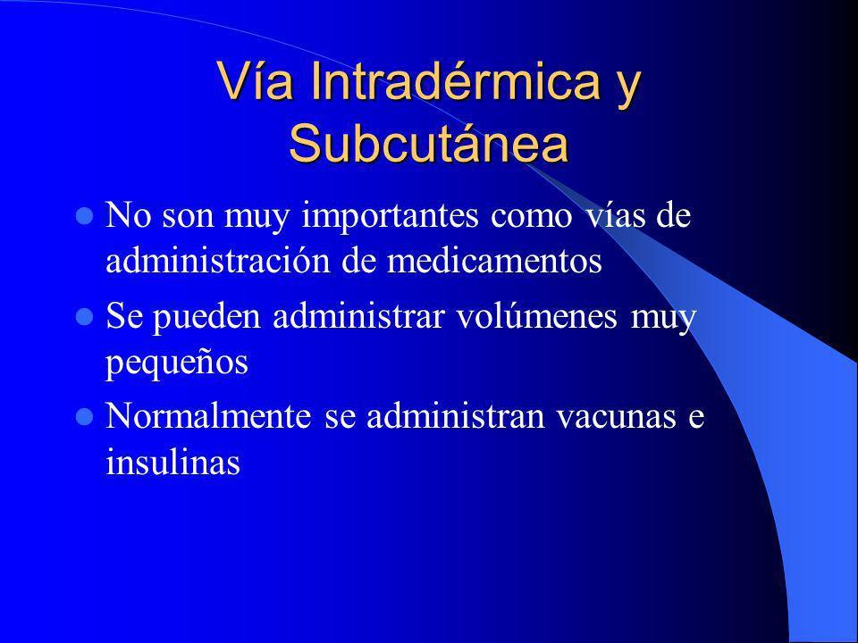 Vía Intradérmica y Subcutánea No son muy importantes como vías de administración de medicamentos Se pueden administrar volúmenes muy pequeños Normalme