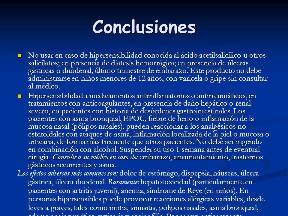 Conclusiones No usar en caso de hipersensibilidad conocida al ácido acetilsalicílico u otros salicilatos; en presencia de diatesis hemorrágica; en pre
