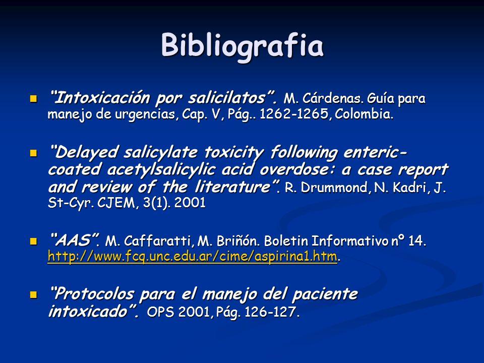 Bibliografia Intoxicación por salicilatos. M. Cárdenas. Guía para manejo de urgencias, Cap. V, Pág.. 1262-1265, Colombia. Intoxicación por salicilatos
