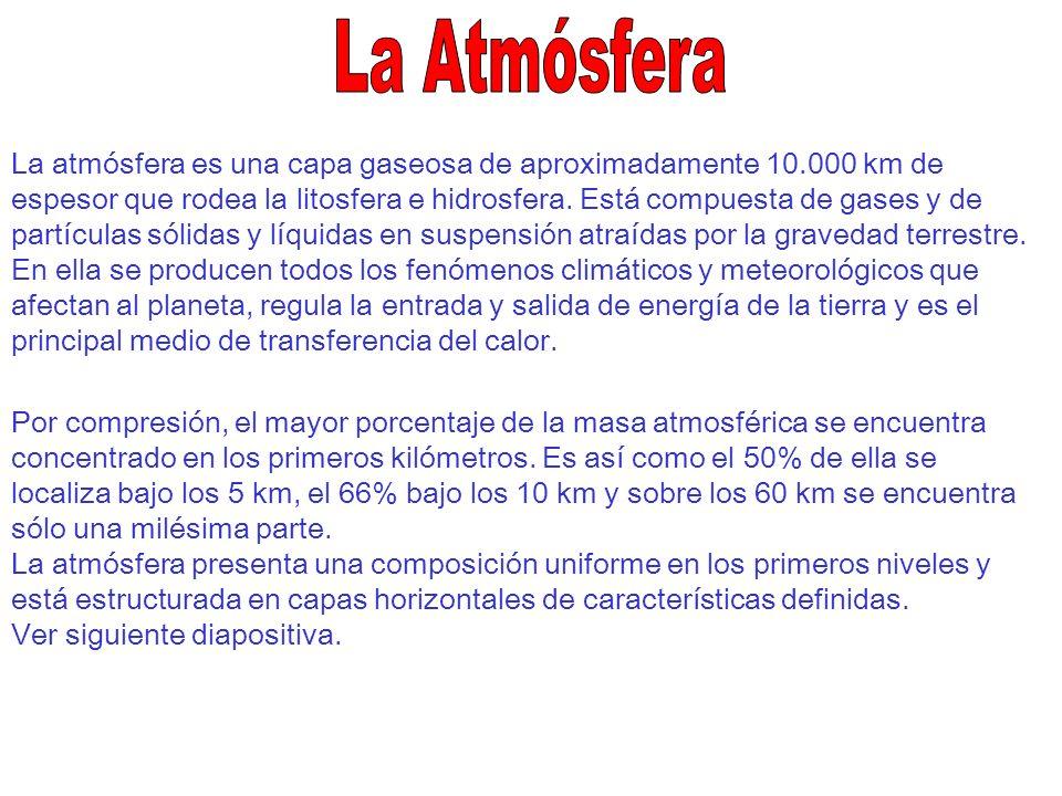 La atmósfera es una capa gaseosa de aproximadamente 10.000 km de espesor que rodea la litosfera e hidrosfera. Está compuesta de gases y de partículas
