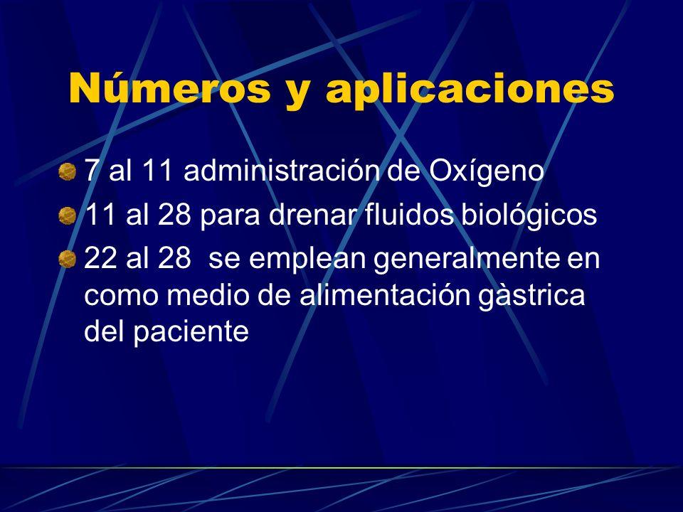 Números y aplicaciones 7 al 11 administración de Oxígeno 11 al 28 para drenar fluidos biológicos 22 al 28 se emplean generalmente en como medio de alimentación gàstrica del paciente
