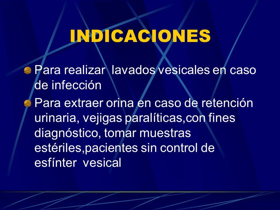 INDICACIONES Para realizar lavados vesicales en caso de infección Para extraer orina en caso de retención urinaria, vejigas paralíticas,con fines diag