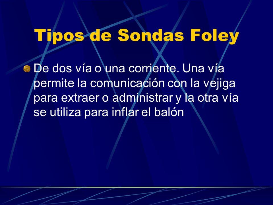 Tipos de Sondas Foley De dos vía o una corriente. Una vía permite la comunicación con la vejiga para extraer o administrar y la otra vía se utiliza pa