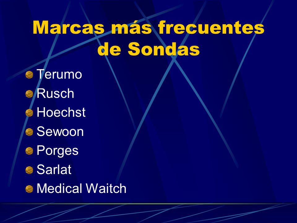 Marcas más frecuentes de Sondas Terumo Rusch Hoechst Sewoon Porges Sarlat Medical Waitch
