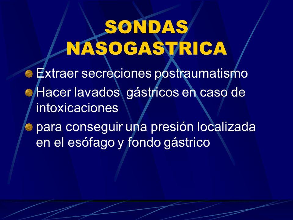 SONDAS NASOGASTRICA Extraer secreciones postraumatismo Hacer lavados gástricos en caso de intoxicaciones para conseguir una presión localizada en el esófago y fondo gástrico