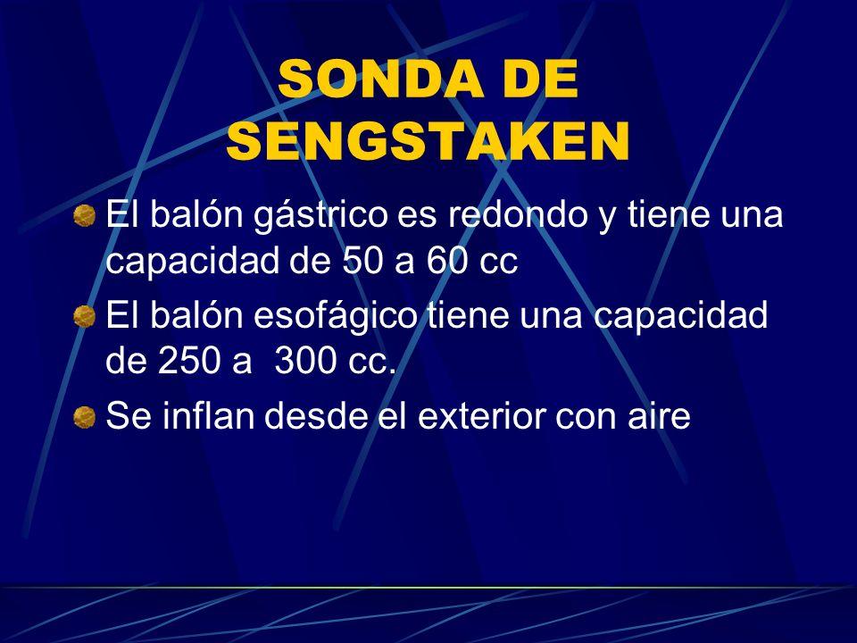 SONDA DE SENGSTAKEN El balón gástrico es redondo y tiene una capacidad de 50 a 60 cc El balón esofágico tiene una capacidad de 250 a 300 cc.
