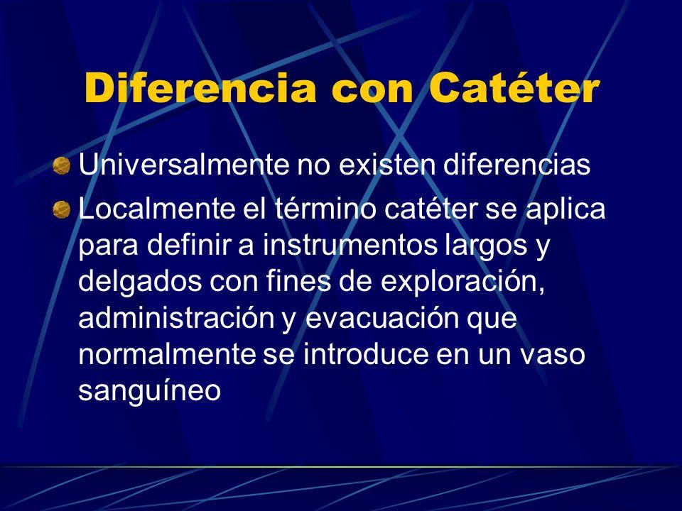 Diferencia con Catéter Universalmente no existen diferencias Localmente el término catéter se aplica para definir a instrumentos largos y delgados con fines de exploración, administración y evacuación que normalmente se introduce en un vaso sanguíneo