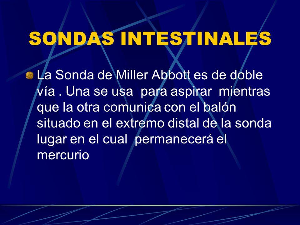 SONDAS INTESTINALES La Sonda de Miller Abbott es de doble vía. Una se usa para aspirar mientras que la otra comunica con el balón situado en el extrem