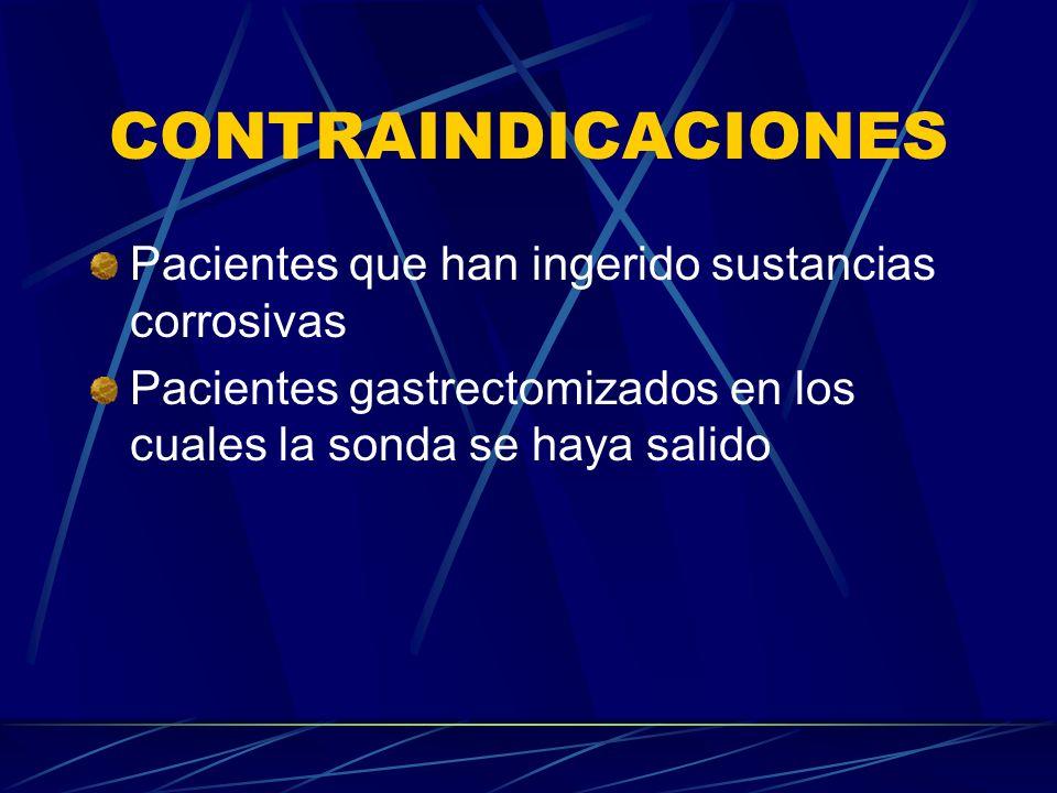 CONTRAINDICACIONES Pacientes que han ingerido sustancias corrosivas Pacientes gastrectomizados en los cuales la sonda se haya salido